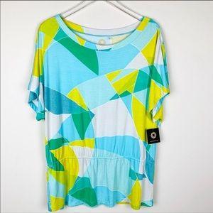 Amber Sun Blue Lagoon Summer tunic top multicolor
